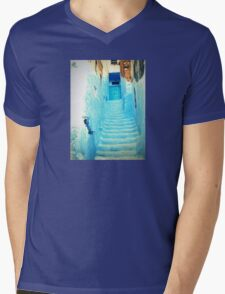 Staircase in Blue Mens V-Neck T-Shirt