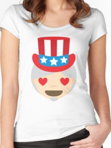 "Uncle ""The Emoji"" Sam Heart and Love Eyes Women's Fitted Scoop T-Shirt"