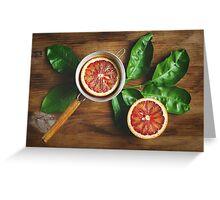Blood orange fruit half close up  Greeting Card