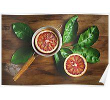 Blood orange fruit half close up  Poster