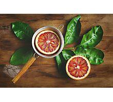 Blood orange fruit half close up  Photographic Print