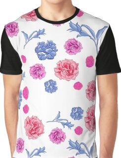 Soft pretty pink and blue floral print Graphic T-Shirt