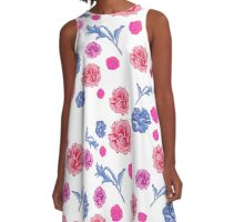 Soft pretty pink and blue floral print A-Line Dress