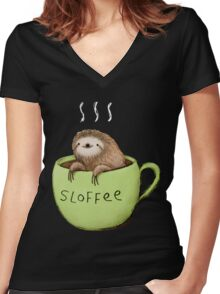 Sloffee Women's Fitted V-Neck T-Shirt