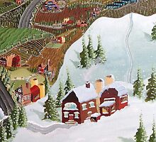 All Seasons Landscape Original Folk Art! by Lisa Rotenberg