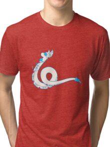 Dragonair Popmuerto   Pokemon & Day of The Dead Mashup Tri-blend T-Shirt