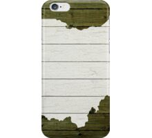 Map Of Ohio State Outline White Distressed Paint On Reclaimed Wood Planks. iPhone Case/Skin