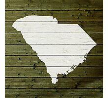 Map Of South Carolina State Outline White Distressed Paint On Reclaimed Wood Planks. Photographic Print