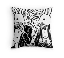 SPLIT HARES (black) Throw Pillow