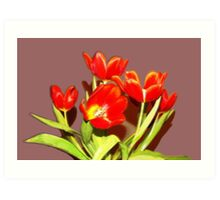 RED TULIPS in vase  Art Print