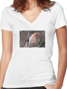 Major Mitchell's Cockatoo (Pink Cockatoo) Women's Fitted V-Neck T-Shirt