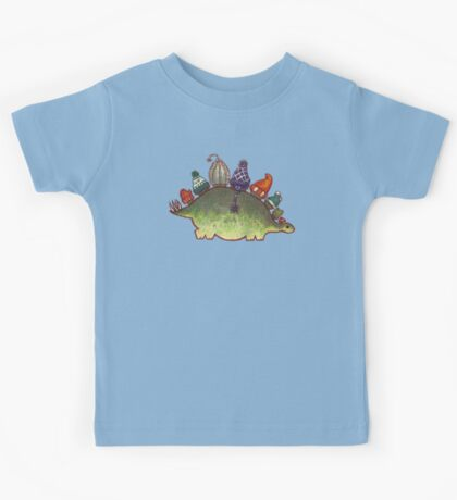 Green Stegosaurus Derposaur with Hats Kids Tee