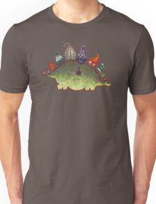 Green Stegosaurus Derposaur with Hats Unisex T-Shirt