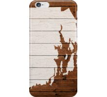 Map Of Rhode Island State Outline White Distressed Paint On Reclaimed Wood Planks. iPhone Case/Skin