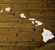 Map Of Hawaii State Outline White Distressed Paint On Reclaimed Wood Planks. by map-lover
