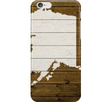 Map Of Alaska State Outline White Distressed Paint On Reclaimed Wood Planks. iPhone Case/Skin