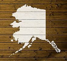 Map Of Alaska State Outline White Distressed Paint On Reclaimed Wood Planks. by map-lover
