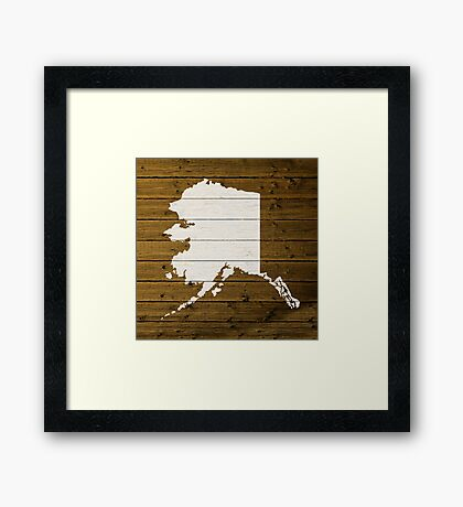 Map Of Alaska State Outline White Distressed Paint On Reclaimed Wood Planks. Framed Print