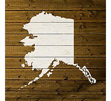 Map Of Alaska State Outline White Distressed Paint On Reclaimed Wood Planks. Photographic Print