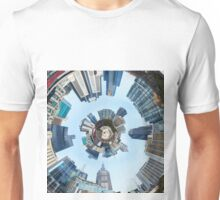 Distorted 3d Cityscape Planet Inside Tunnel Unisex T-Shirt