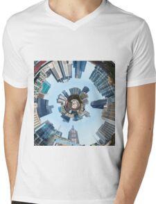 Distorted 3d Cityscape Planet Inside Tunnel Mens V-Neck T-Shirt