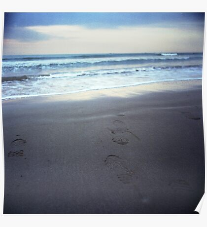 Foot prints at dawn on empty sandy beach sea side Hasselblad square medium format film analogue photograph Poster