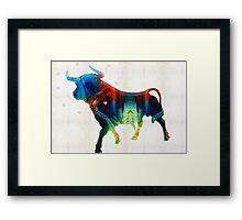 Bull Art Print - Love A Bull 2 - By Sharon Cummings Framed Print