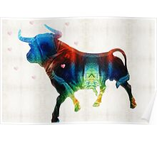 Bull Art Print - Love A Bull 2 - By Sharon Cummings Poster