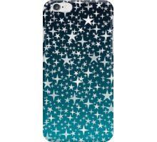 Silver Stars on Dark Blue Sky Background iPhone Case/Skin