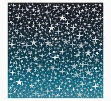 Silver Stars on Dark Blue Sky Background T-Shirt