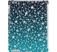 Silver Stars on Dark Blue Sky Background iPad Case/Skin