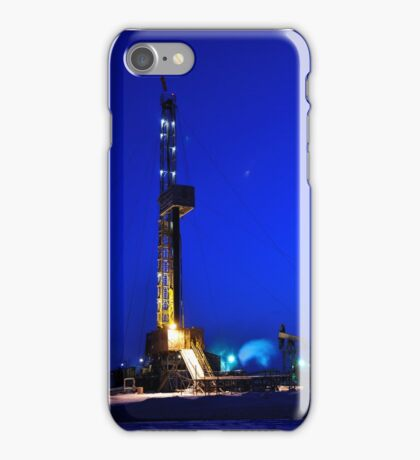 Drilling Rig at Night iPhone Case/Skin