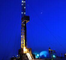 Drilling Rig at Night by bashta