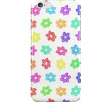 Sketchy Rainbow Flower Pattern on White Background iPhone Case/Skin