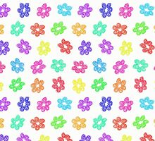 Sketchy Rainbow Flower Pattern on White Background by amovitania