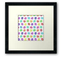Sketchy Rainbow Flower Pattern on White Background Framed Print