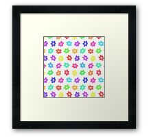 Sketchy Rainbow Flower Pattern on White Background Framed Print