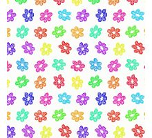 Sketchy Rainbow Flower Pattern on White Background Photographic Print
