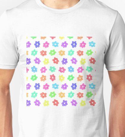 Sketchy Rainbow Flower Pattern on White Background Unisex T-Shirt