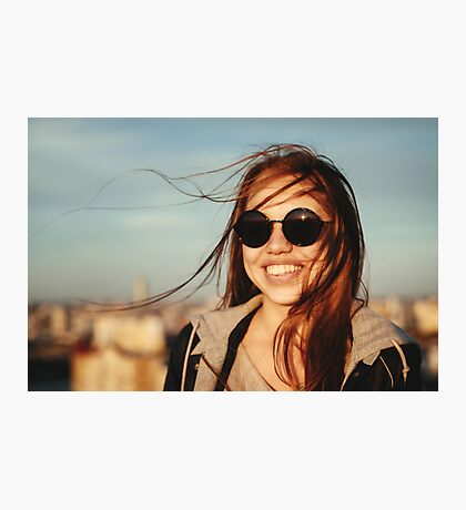 Young woman in round sunglasses having fun Photographic Print