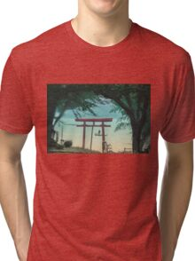 """Silhouette in the """"Torii"""" lake side Tri-blend T-Shirt"""