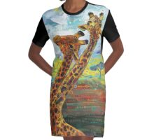 Giraffes Graphic T-Shirt Dress