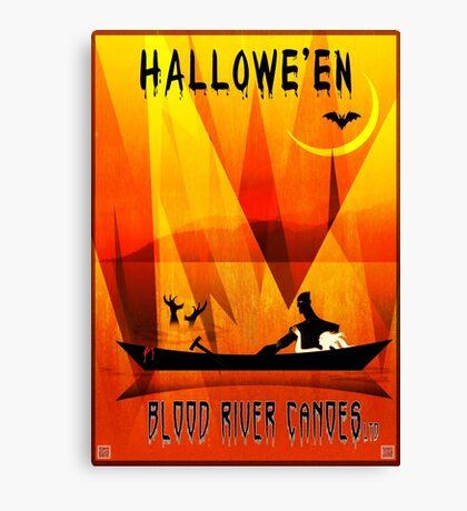 Halloween Canoeing Canvas Print