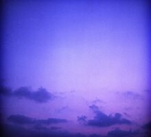 Clouds in sky in blue purple dusk sunset evening in Ibiza summer Hasselblad square medium format film analogue photo by edwardolive