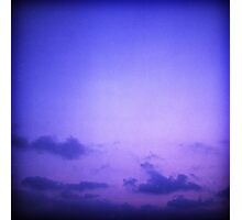 Clouds in sky in blue purple dusk sunset evening in Ibiza summer Hasselblad square medium format film analogue photo Photographic Print