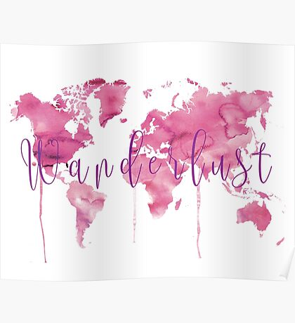 World map in pink Poster