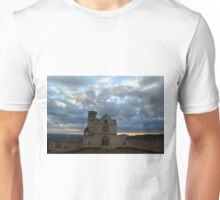 Photography of famous Basilica of St. Francis of Assisi (Basilica Papale di San Francesco) at sunset in Assisi, Umbria, Italy Unisex T-Shirt