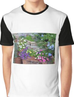 Colorful flowers in flower pots Graphic T-Shirt