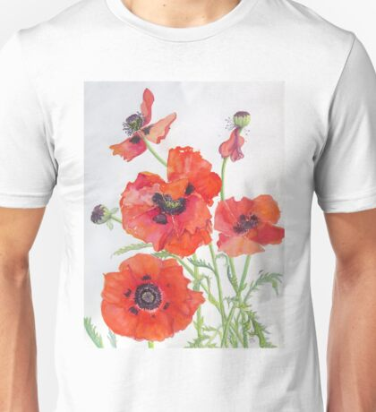 Poppies by Janet Mileham White Unisex T-Shirt