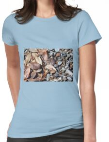 Dry leaves on the ground on pebbles Womens Fitted T-Shirt